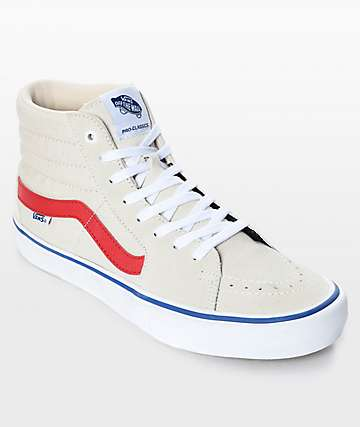 Vans Sk8-Hi Pro Birch Red & White Skate Shoes
