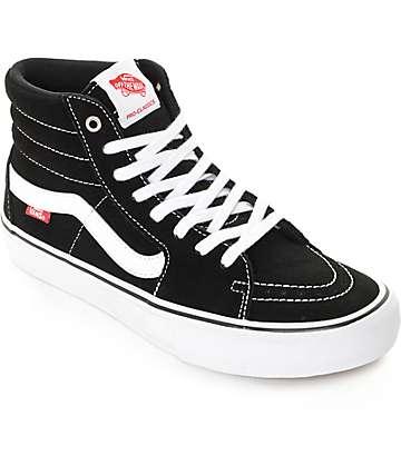 Vans Sk8-Hi Pro Black & White Suede Skate Shoes (Mens)