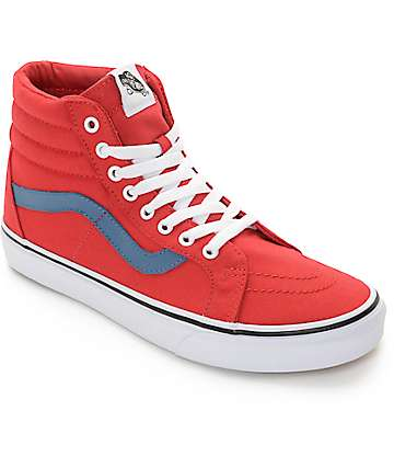 Vans Sk8-Hi Red and Blue Canvas Skate Shoes (Mens)