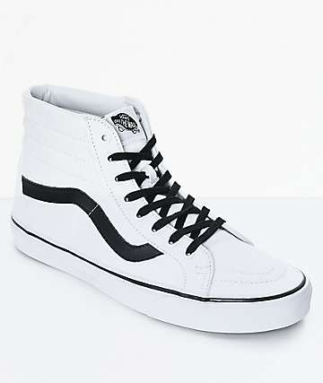 Vans Sk8-Hi Reissue True White & Black Skate Shoes (Mens)
