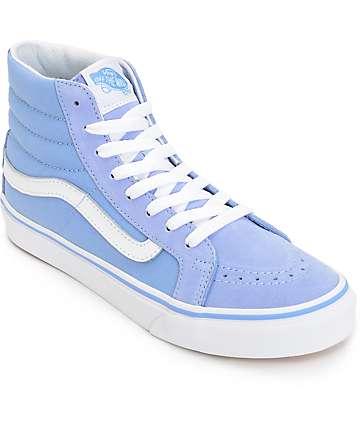 Vans Sk8 Hi Slim Bel Air zapatos en azul y blanco (mujer)