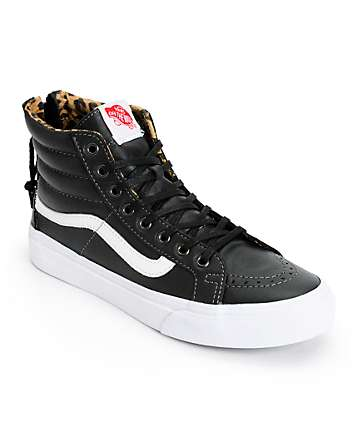 Vans Sk8-Hi Slim Black Leather & Leopard Zip Shoes (Womens)