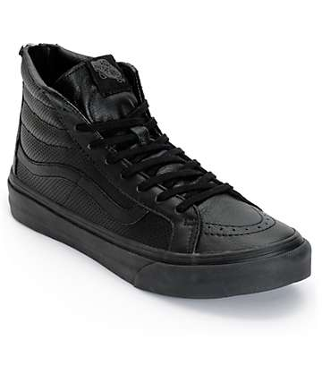 Vans Sk8 Hi Slim Black Perforated Shoes (Womens)