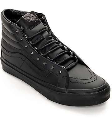 Vans Sk8 Hi Slim Rivets Black Leather Shoes (Womens)