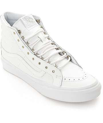 Vans Sk8 Hi Slim Rivets White Leather Shoes (Womens)