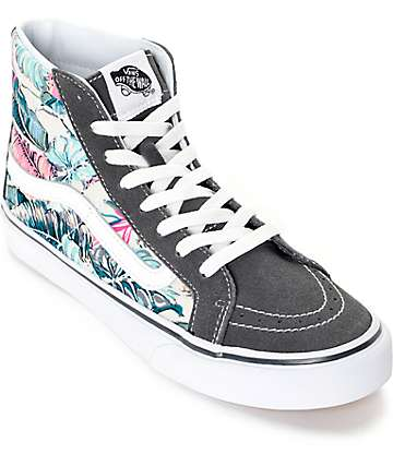 Vans Sk8 Hi Slim Tropical Grey Shoes (Womens)