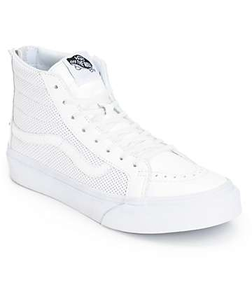 Vans Sk8-Hi Slim White Perforated Shoes (Womens)