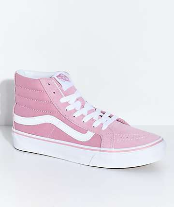 Vans Sk8-Hi Slim Zephyr Pink & White Skate Shoes