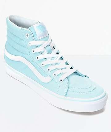 Vans Sk8-Hi Slim zapatos en azul pastel y blanco para mujeres
