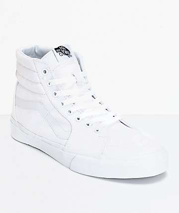 Vans Sk8 Hi True White Canvas Skate Shoes (Mens)
