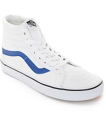Vans Sk8-Hi White and Blue Canvas Skate Shoes (Mens)