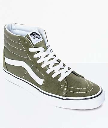 Vans Sk8-Hi Winter zapatos de skate en verde musgo y blanco