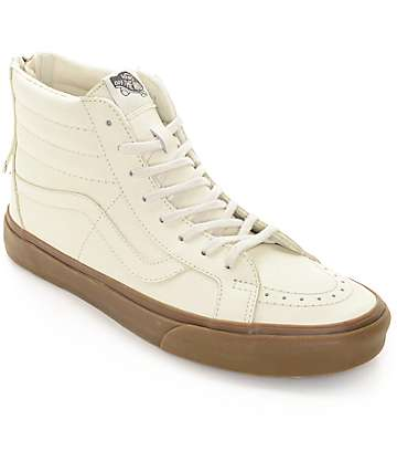Vans Sk8-Hi Zip White Leather & Gum Skate Shoes (Mens)