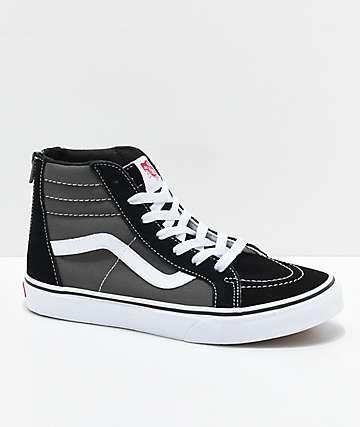 Vans Sk8-Hi zapatos de skate con cremallera en negro y gris para niños