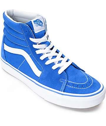 Vans Sk8-Hi zapatos de skate de ante en azul y blanco
