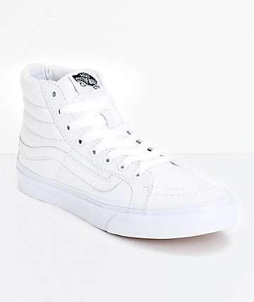 Vans Sk8 Hi zapatos de skate delgados blancos  (mujer)