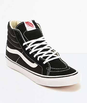 Vans Sk8 Hi zapatos de skate delgados en negro y blanco (mujer)