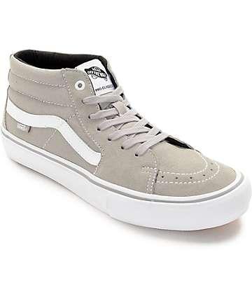 Vans Sk8-Mid Pro Drizzle zapatos de skate en gris y blanco