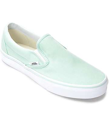 Vans Slip-On Bay & White Canvas Shoes (Womens)