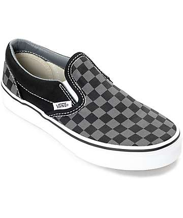 Vans Slip-On Black & Pewter Checkered Boys Skate Shoes