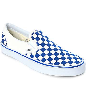 Vans Slip-On Blue & White Checkered Skate Shoes