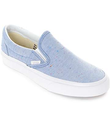 Vans Slip-On Speckle Jersey Blue Shoes (Womens)
