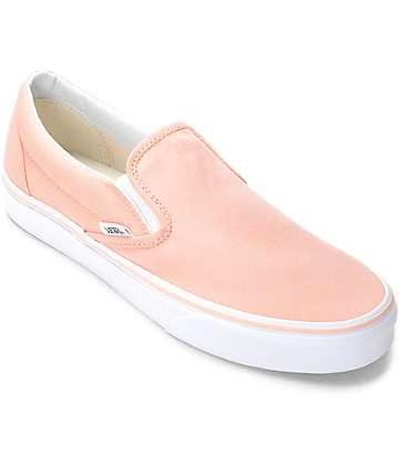 Vans Slip-On zapatos de lienzo en blanco y color melocotón