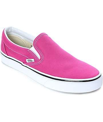 Vans Slip-On zapatos de skate en blanco y color fuschia