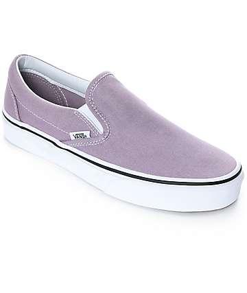 Vans Slip-On zapatos de skate en blanco y morado pastel