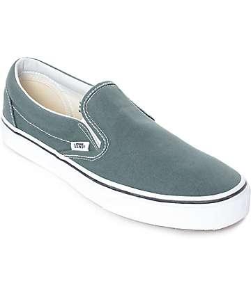Vans Slip-On zapatos de skate en gris azul y blanco