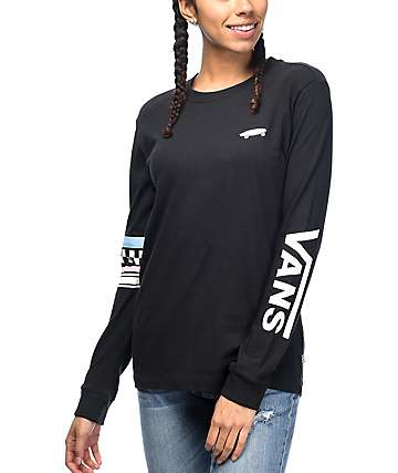Vans Stripe Black & Silver Long Sleeve T-Shirt