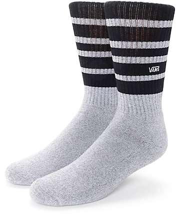Vans Striped Heather Grey & Black Crew Socks