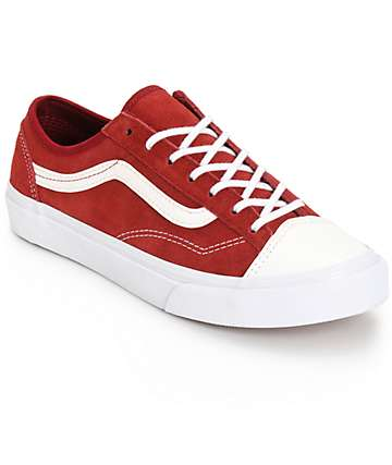 Vans Style 36 Slim Red Leather Shoes (Womens)