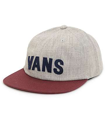 Vans Tag Unconstructed Heather Grey & Port Strapback Hat