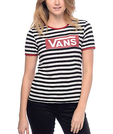 Vans Tangled Up Black & White Stripe Ringer T-Shirt