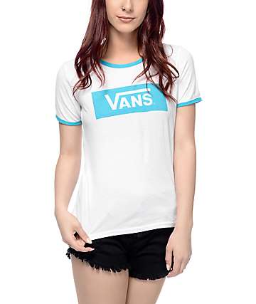 Vans V-Tangle White & Blue Ringer T-Shirt