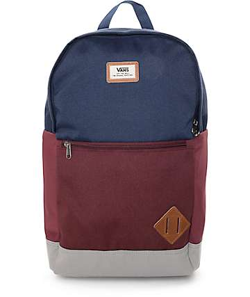 Vans Van Doren II 29L Blue, Grey & Burgundy Backpack
