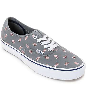Vans x MLB Authentic Red Sox Canvas Skate Shoes