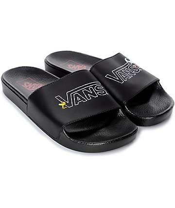 Vans x Peanuts Black Slide Sandals