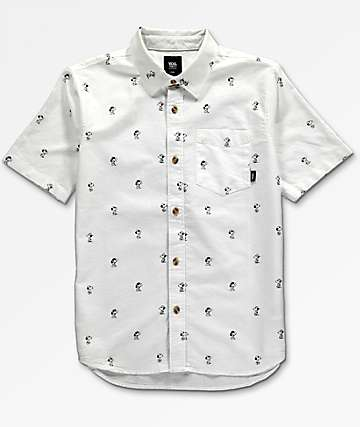 Vans x Peanuts Boys House White Woven Button Up Shirt