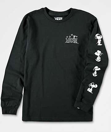 Vans x Peanuts camiseta negra de manga larga para niños