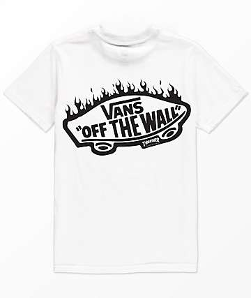 Vans x Thrasher camiseta blanca con bolsillo para niños