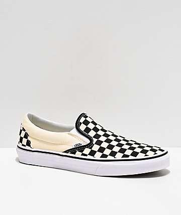 Vans zapatos de skate sin cordones a cuadros blanco y negro