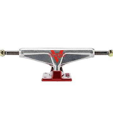 Venture Mid Raw Silver & Red 5.25 Skateboard Truck