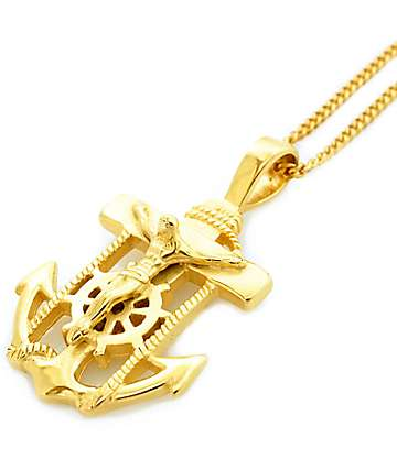 Veritas Anchor Pendant Gold Necklace