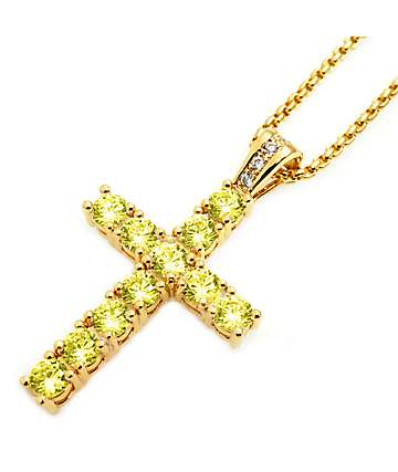 Veritas Remus Cross With Canary Diamonds Necklace