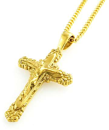 Veritas Renasci Cross Pendant Gold Necklace