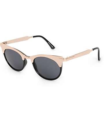 Veronica Black & Gold Retro Sunglasses
