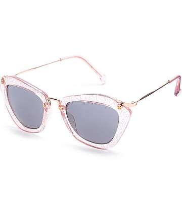 Vesper Angle Pink Glitter Sunglasses