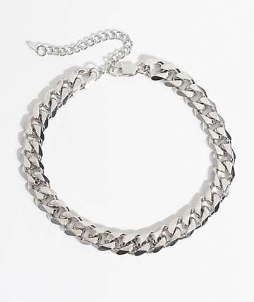 Vesso Flat Cuban Link White Gold Chain Necklace